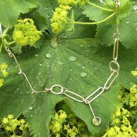 Peridot Drop Statement  Necklace with Chunky Silver Links