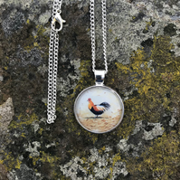 Cockerel  necklace glass domed necklace  Jewellery