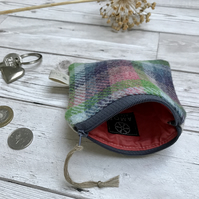 Hand Woven Wool Tweed and Scottish Linen Coin Purse, Credit Card Purse