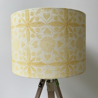 Hand Printed Linen Lampshade in Ochre Yellow