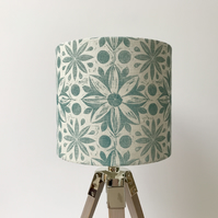 Hand Printed Linen Lampshade in Teal Blue