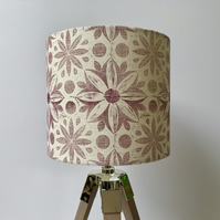 Hand Printed Linen Lampshade in Raspberry Red