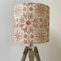 Hand Printed Linen Lampshade in Rose Pink