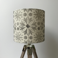 Hand Printed Linen Lampshade in Lavender Grey
