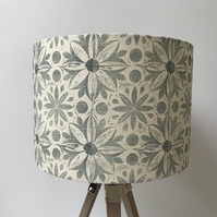 Hand Printed Linen Lampshade in Duck Egg Blue