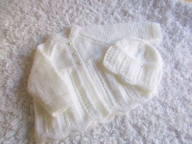 "14"" Newborn Matinee Coat & Hat"
