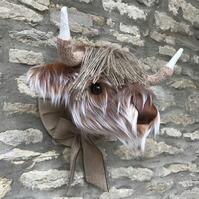 Faux taxidermy furry Highland Cow Coo animal head wall mount with bow