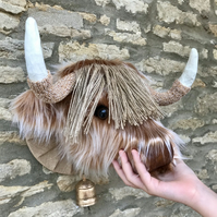 Faux taxidermy furry Highland Cow Coo animal head wall mount with bell
