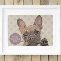 Personalised Fawn Frenchie bathroom art
