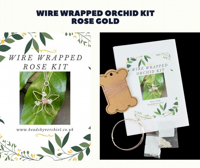 Wire Wrapped Orchid Kit Rose Gold - Jewellery Making