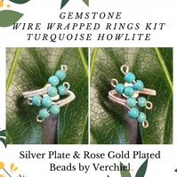 JEWELLERY MAKING KIT - WIRE WRAPPED TURQUOISE HOWLITE RING