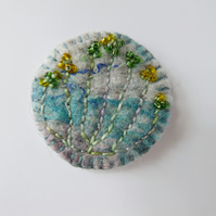 Handmade embroidered felt brooch