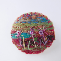 Handcrafted embroidered felt brooch