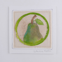 Pear painted on a Teabag, Wall art