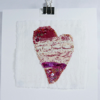 Red Love Heart ready to frame sewn by hand