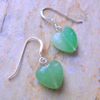Gemstone Aventurine Heart Drop Earrings