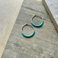 Sterling Silver 18mm Hoop Earrings with tiny Turquoise beads,