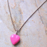 Candy Pink Enamel Heart on Sterling Silver Chain