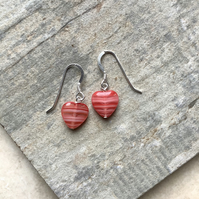 Coral and White Czech Glass Heart Drop Earrings