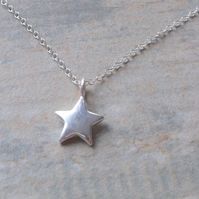 Sterling Silver Puffed Star Pendant