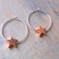 Sterling Silver Hoop Earrings with Rose Gold Star Charms