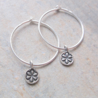 Sterling Silver Hoop Earrings with Daisy Charms