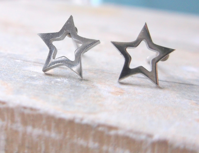 Silver Star Silhouette Stud Earrings