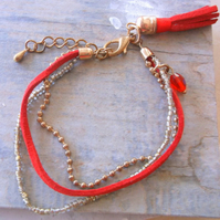Red and Gold Plate Friendship Bracelet