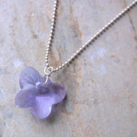 Lilac Crystal Butterfly Pendant on a Sterling Silver Chain