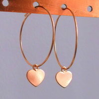 14K Rose Gold Filled Hoops with Rose Gold Vermeil Heart Charms