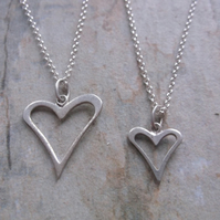 Mummy and Me Sterling Silver Heart Silhouette Pendant Necklaces
