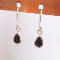 Faceted Onyx Teardrops and Sterling Silver Earrings