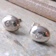Sterling Silver and Crystal Oval Stud Earrings