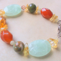 Gemstones Carnelian, Citrine and Aventurine Bracelet