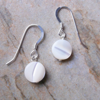 Freshwater Pearl Coin Drop Earrings.