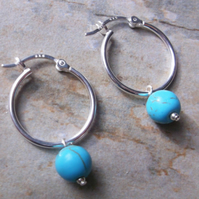 Sterling Silver 20mm Hinged Hoop Earrings with Grade A Turquoise Gemstones.