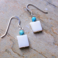 Grade A Ivory Freshwater Cultured Pearl Rectangles with Turquoise Drop Earrings