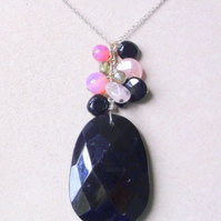 One Off Piece, Onyx, Rose Quartz and Agate Statement Necklace