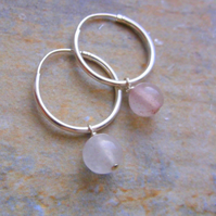 Sterling Silver 16mm Hoop Earrings with Rose Quartz Gemstones