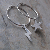 Mismatched Star and Lightning Bolt Sterling Silver Hoops Earrings