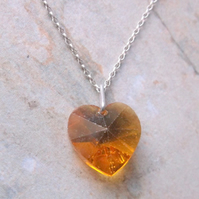 Swarovski Crystal Yellow Heart Pendant Necklace