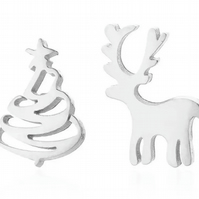 Christmas Mismatched Stud Earrings