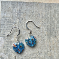 Italian Glass Millefiori Turquoise Heart Drop Earrings