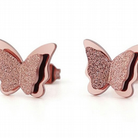 Rose Gold Glitter Effect Butterfly Stud Earrings.