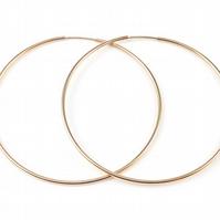 Extra Large 65mm 22k Gold Filled Hoop Earrings