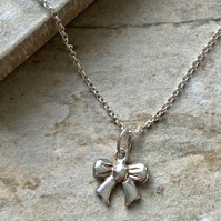 Sterling Silver Ribbon Bow Pendant Necklace
