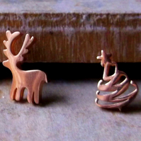 Rose Gold Chrismas Tree and Reindeer Mismatched Stud Earrings