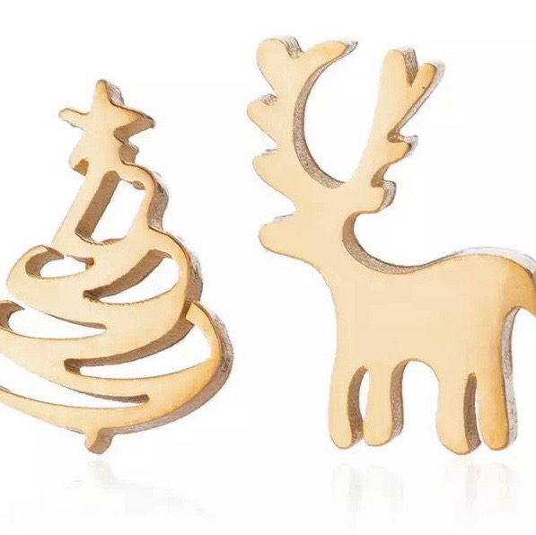 Mismatched Gold Stud Earrings, Christmas Tree and Reindeer
