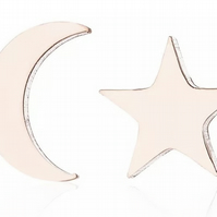 Mismatched Rose Gold Plate Star and Moon Stud Earrings