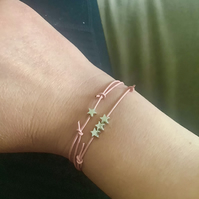 Pink Leather with Tiny Silver Stars Stacking Bracelets